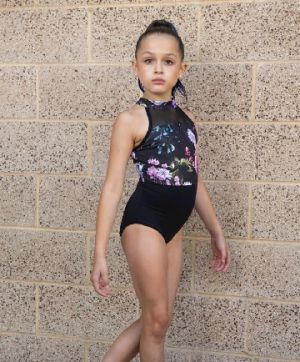 DanzNmotion Girl's Midnight Garden Print Halter Leotard 20121C