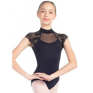 So Danca Sara Mearns Girl's Mock Neck Cap Sleeve with Fan Lace Sleeves L2019