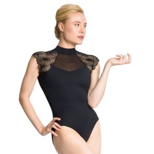 So Danca Sara Mearns Women's Mock Neck Cap Sleeve with Fan Lace Sleeves PL2039